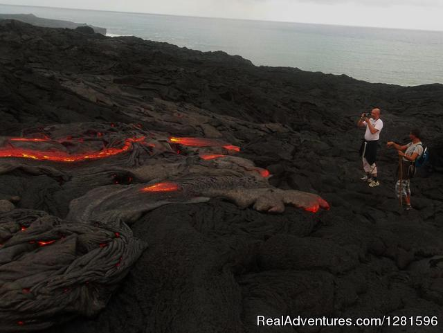 Active Lava Flows near the Ocean in Hawaii - Hike to Active Lava Flows