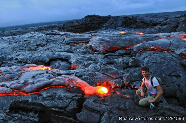 Hike to Active Lava Flows Get close to Lava