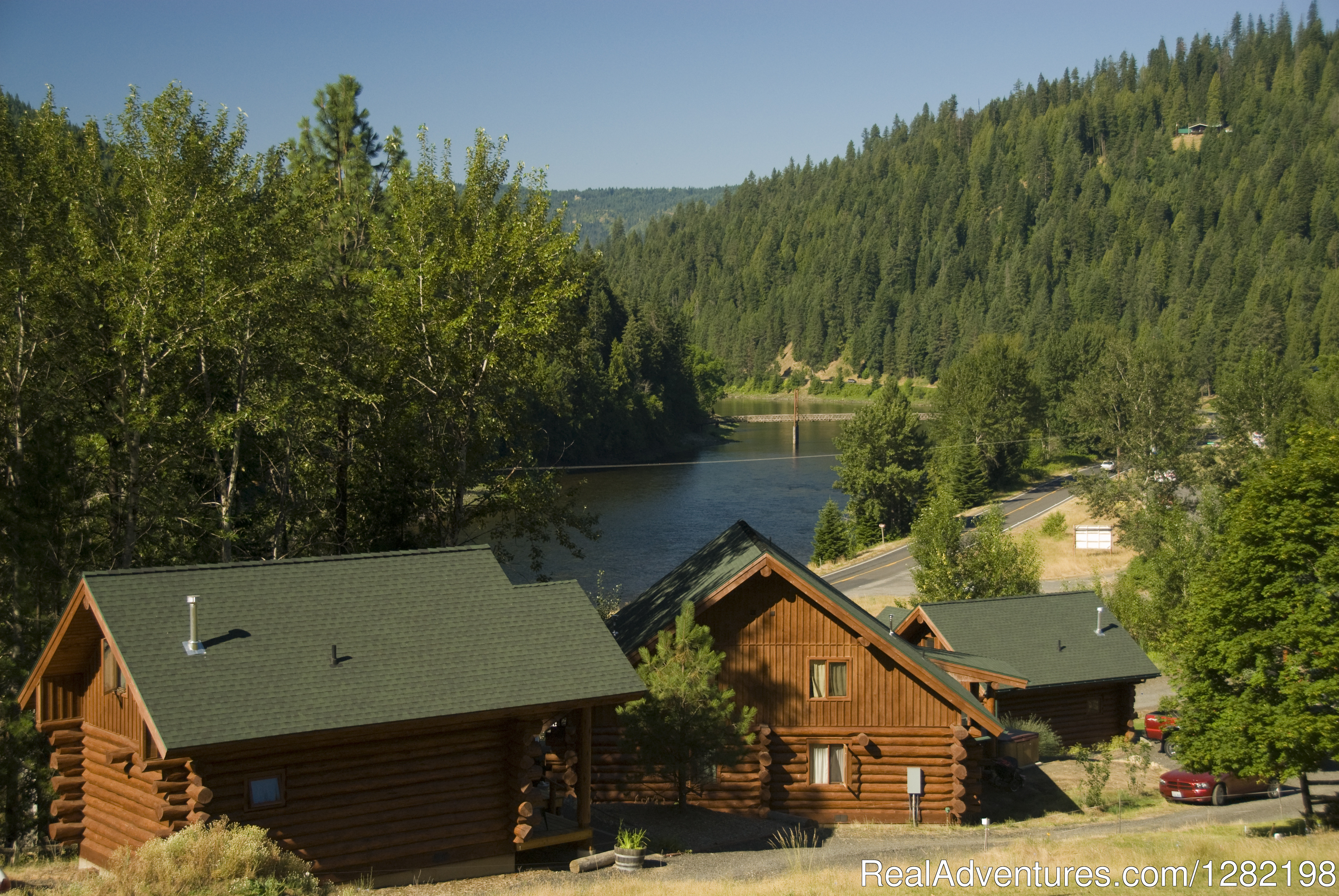 River Dance Lodge Cabins overlooking the Clearwater River