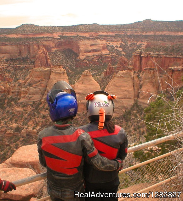 Having a look at a beautiful canyon. - Luxury Custom Motorcycle and Sports Car Tours