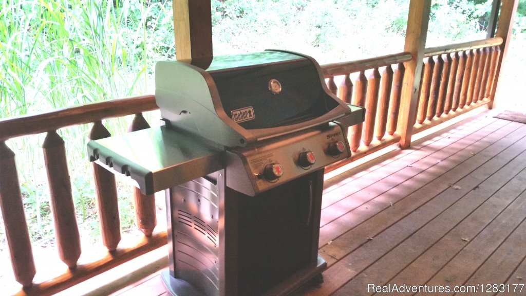 Enjoy Grilling on the Back Deck | Image #20/26 | Adventurewood Log Cabin HotTub/Fireplace/PoolTable