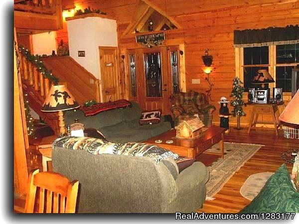 Log Great Room | Image #8/26 | Adventurewood Log Cabin HotTub/Fireplace/PoolTable