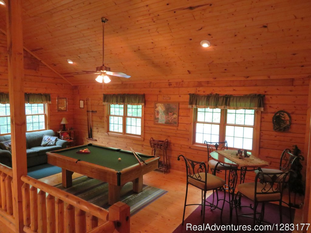 Loft with Pool Table and Sleeper Sofa | Image #11/26 | Adventurewood Log Cabin HotTub/Fireplace/PoolTable