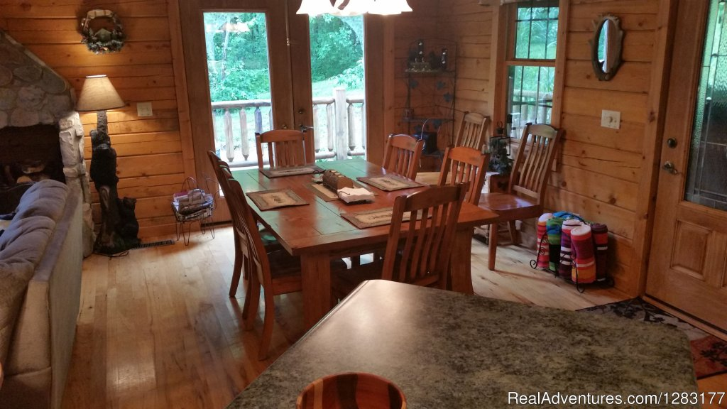 Large Dining Area for 8 Guests | Image #10/26 | Adventurewood Log Cabin HotTub/Fireplace/PoolTable