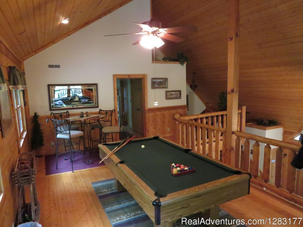 Elegant Open Loft with Pool Table and Saloon Seating | Image #12/26 | Adventurewood Log Cabin HotTub/Fireplace/PoolTable