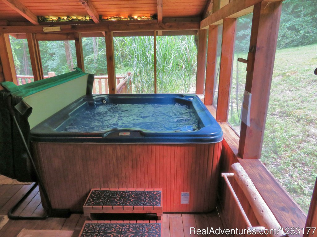 Screened Hot Tub is Romantic & Private Surrounded by Woods | Image #18/26 | Adventurewood Log Cabin HotTub/Fireplace/PoolTable