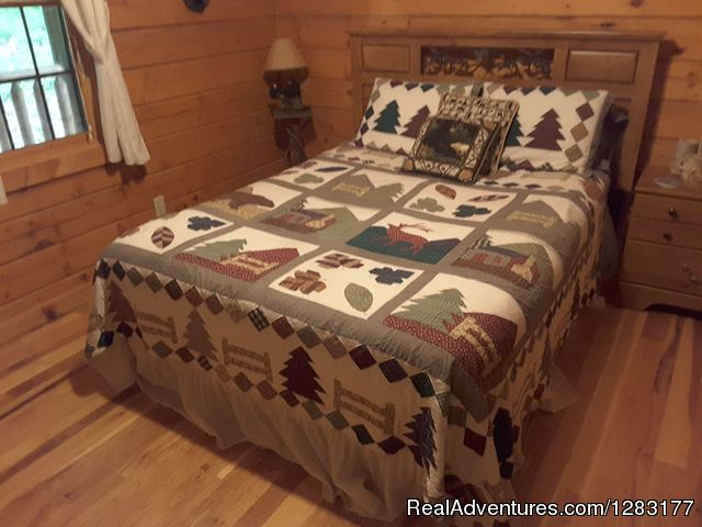Back Queen Guest Room with Adjoining Bath - Adventurewood Log Cabin HotTub/Fireplace/PoolTable