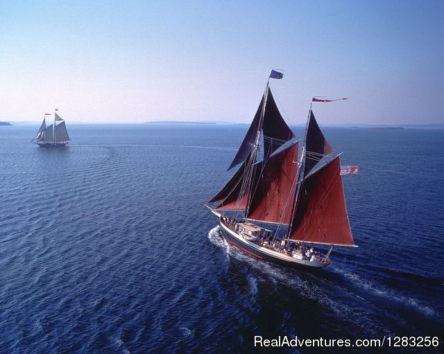 Aerial View of Windjammer Angelique - The Maine Windjammer Association