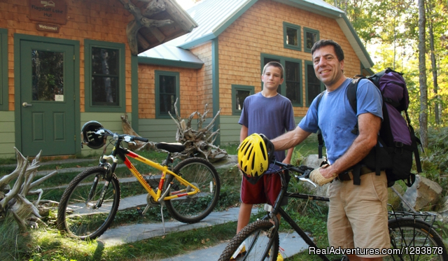 A Family bikes to Flagstaff Hut - Maine Huts & Trails