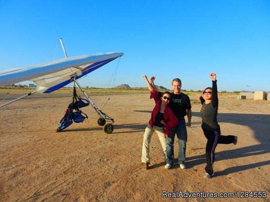 Excitement after a fun flight - Tandem Hang Gliding Flights Sonora Wings Arizona