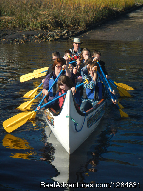 BIg Canoe Fun on the St. Marys River - Guided War Canoe Adventures for Groups