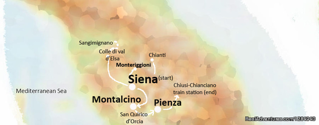 Tour itinerary - Siena - Montalcino - Pienza with escursions - Tuscany Hilltop Towns Walking Tour May 8-15, 2016