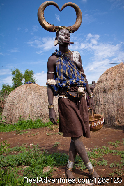 Image of Mursi woman - Luxury Ethiopia Tours with His-Cul Tour Operator