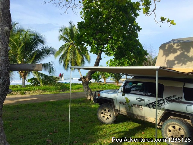 Relaxing and camping on a Costa Rican beach - Nomad America Costa Rica Camping 4X4 Roadtrip
