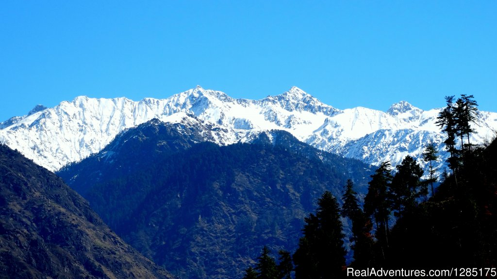 Snow peak view of Tirthan Valley and National Park