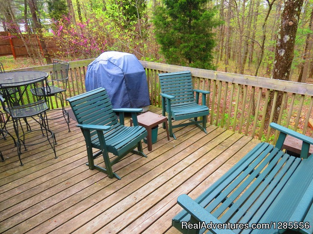 Back deck with seating and Gas grill, charcoal grill - Pine Ridge Retreat - Hills of Southern Ohio