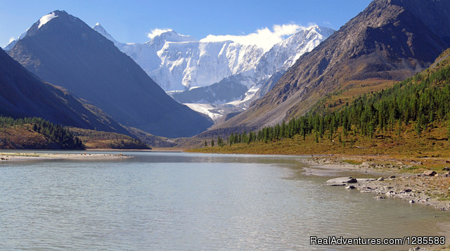 Travel Adventure tour in the Altai Mountains: Akken Lake Altai, view on Belukha Mt (4506meter)