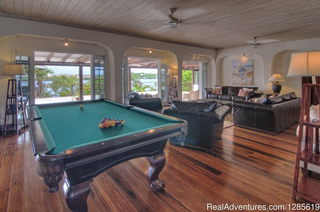 Great Room with Pool Table | Image #7/13 | GrenadaBnB - Luxury Waterfront Villa