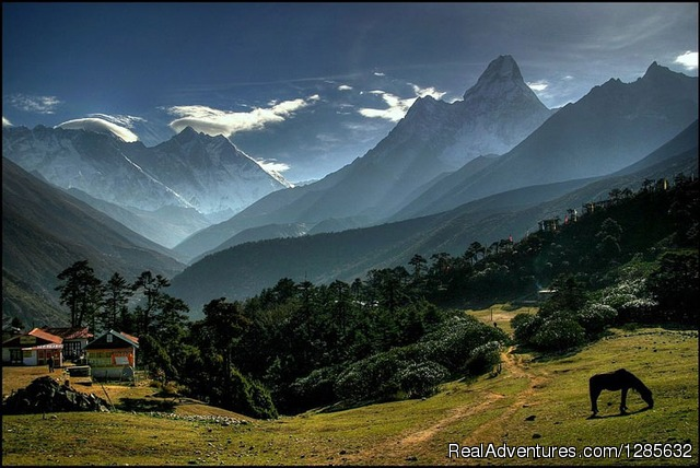 View from tyangboche monastry - Trekking in Nepal with Friends Adventure Team