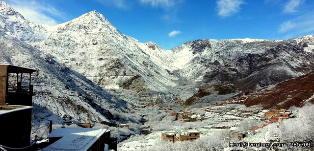 Spring snows in Berber Village - Atlas Mountains Morocco- Berber Villages & Mt Toub