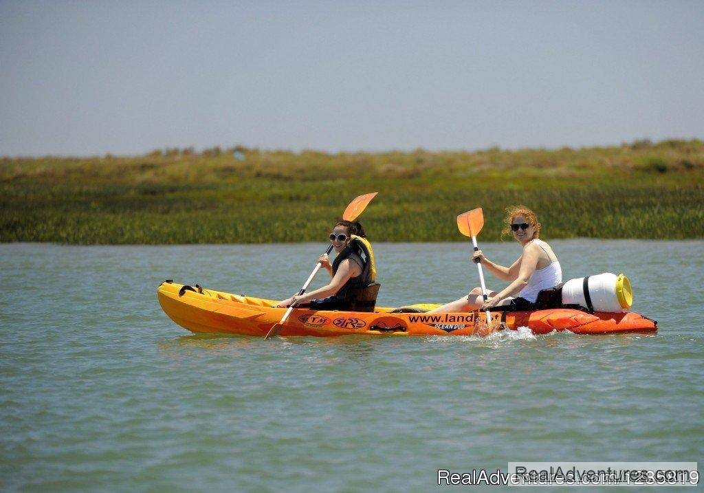 Discover Ria Formosa kayaking until its beautiful islands and beaches. Explore a stunning Nature Park kayaking in the beautiful waters of the Algarve. Kayak tours and kayak hire are offered by Lands, a company based in Faro and opened all year round.