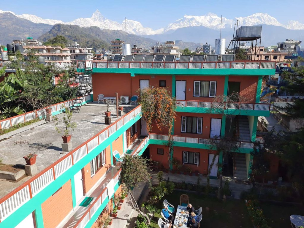 Located in Lakeside few minutes walking distance from Lake Fewa. Excellent views of  Annapurna range and Fishtail mountain range, peace and quite area. Offer Single and double bed room with modern facilities , 24 hours hot and cold water, free WIFI.