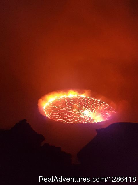 Hiking mount Nyiragongo active volcano