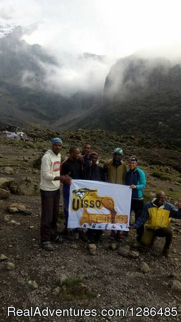 The solo traveler with our staff at Mt. Kilimanjaro - Uisso Adventures and Travel