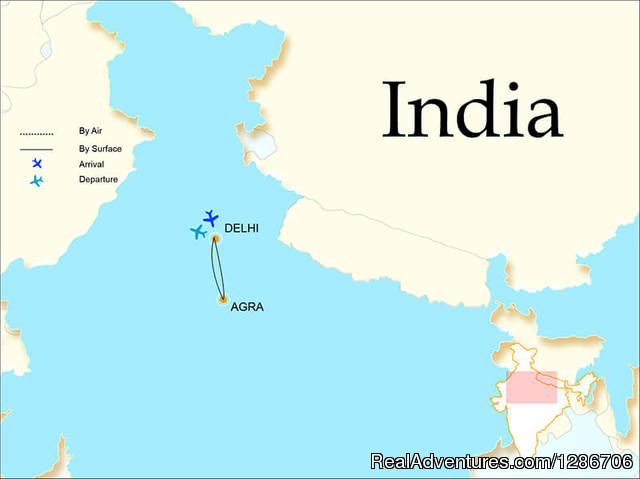 Map Of Same Day Agra Tour - Same Day Agra Tour